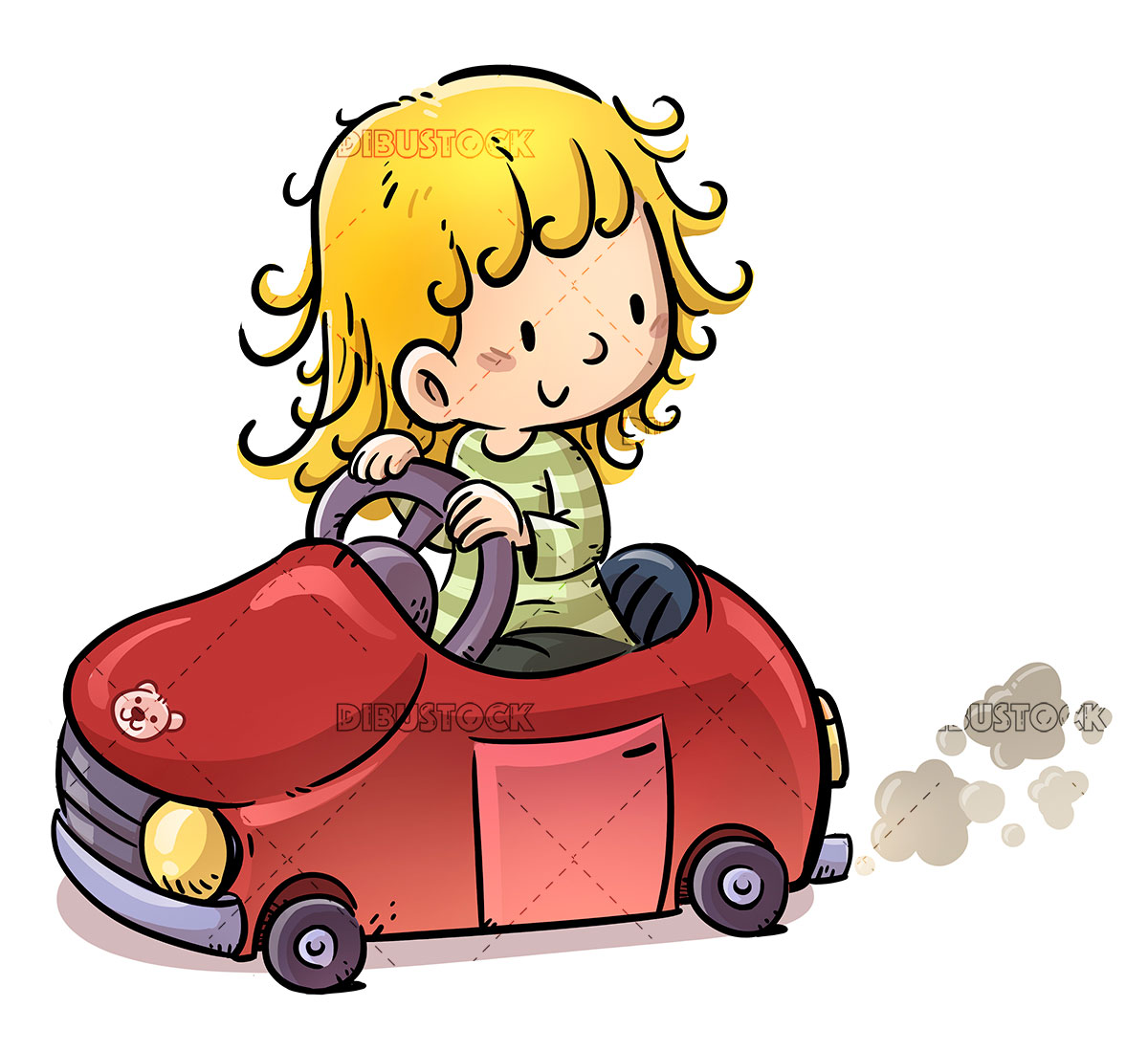 Little girl with red car
