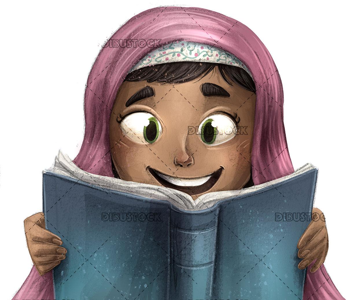 Little muslim girl reading a book