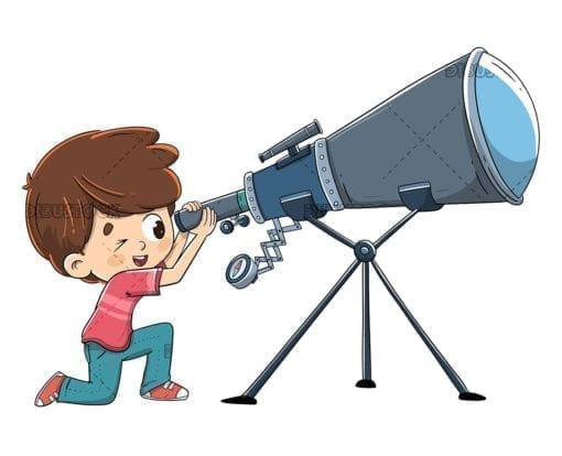 boy looking through the telescope low