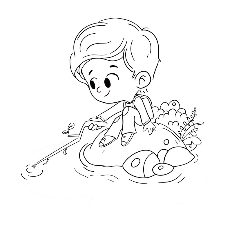 boy playing with a branch sitting on the shore to color low