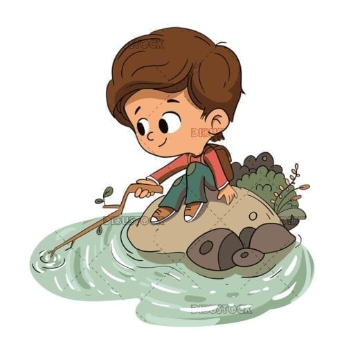 boy playing with a branch sitting on the shore low