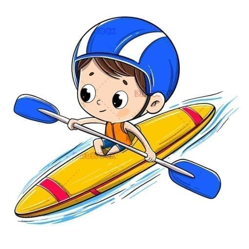 boy riding a canoe or kayak doing sports in the river low