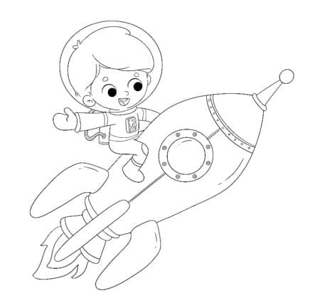 boy riding a rocket traveling through space to color low