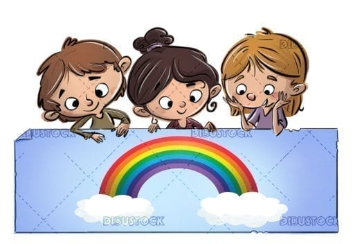 children holding a poster with a rainbow