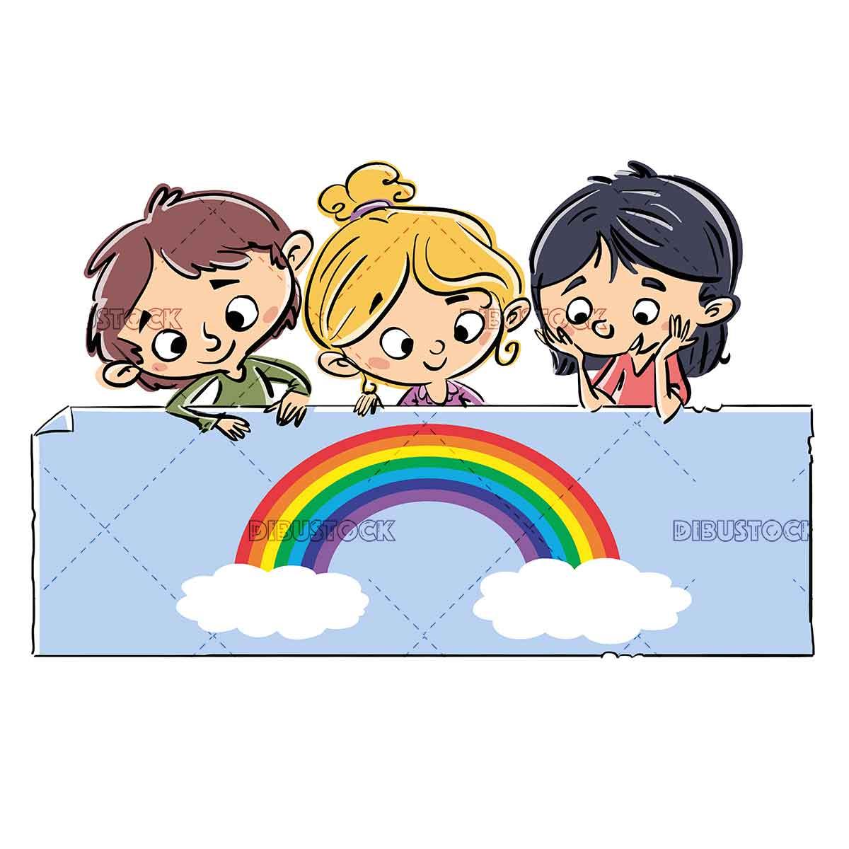 children with rainbow on placard