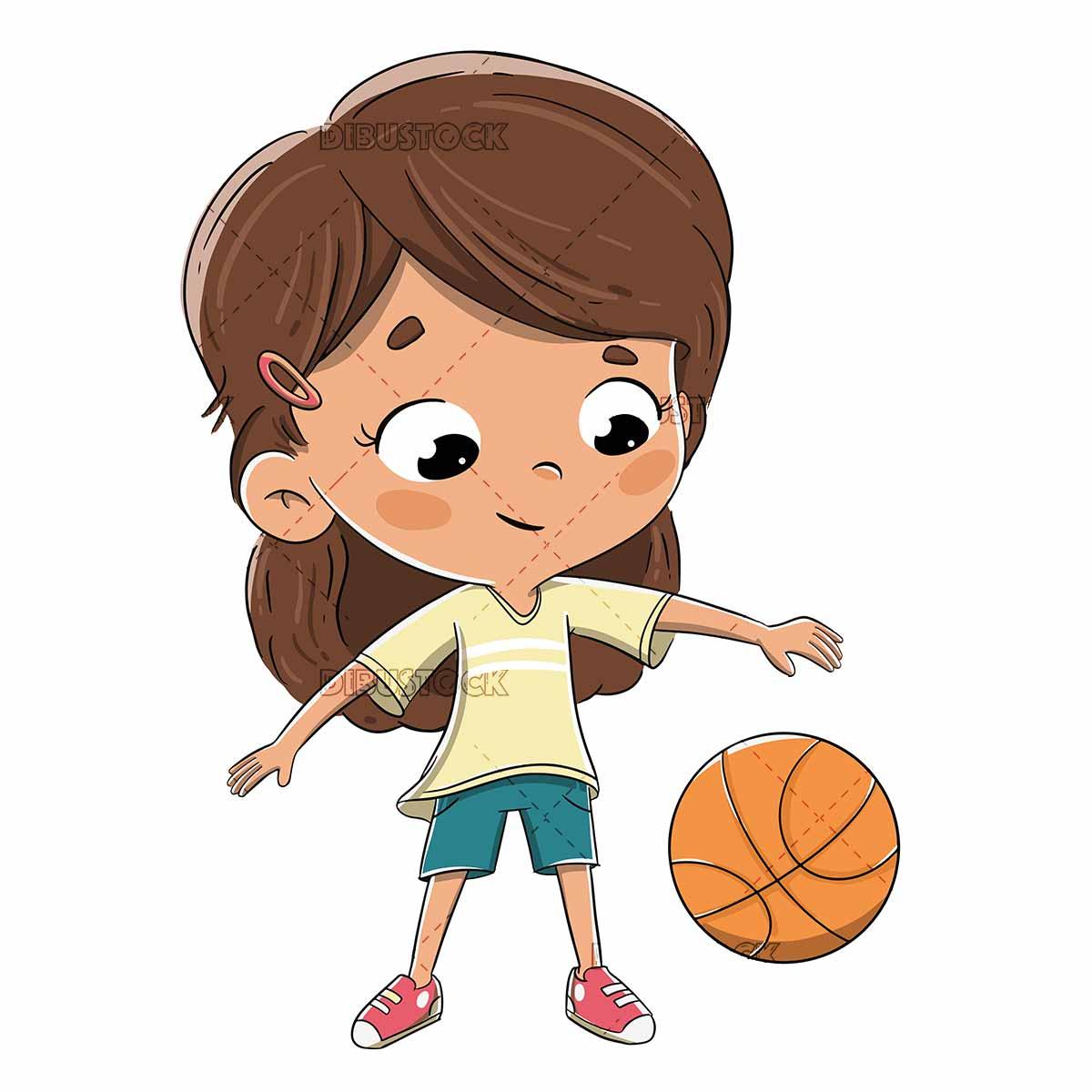 girl playing basketball bouncing the ball