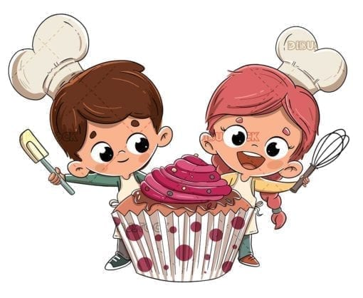 happy boy and girl with cupcake low
