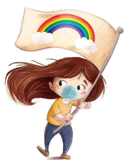 kid carrying a rainbow flag