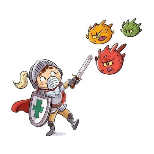 kid knight fighting viruses