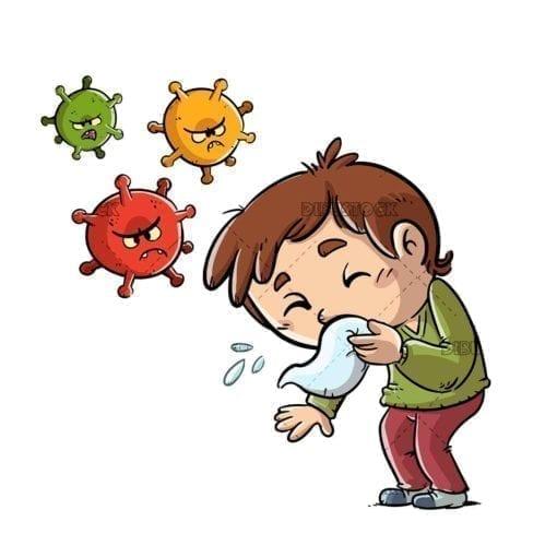 kid sneezing and spreading virus