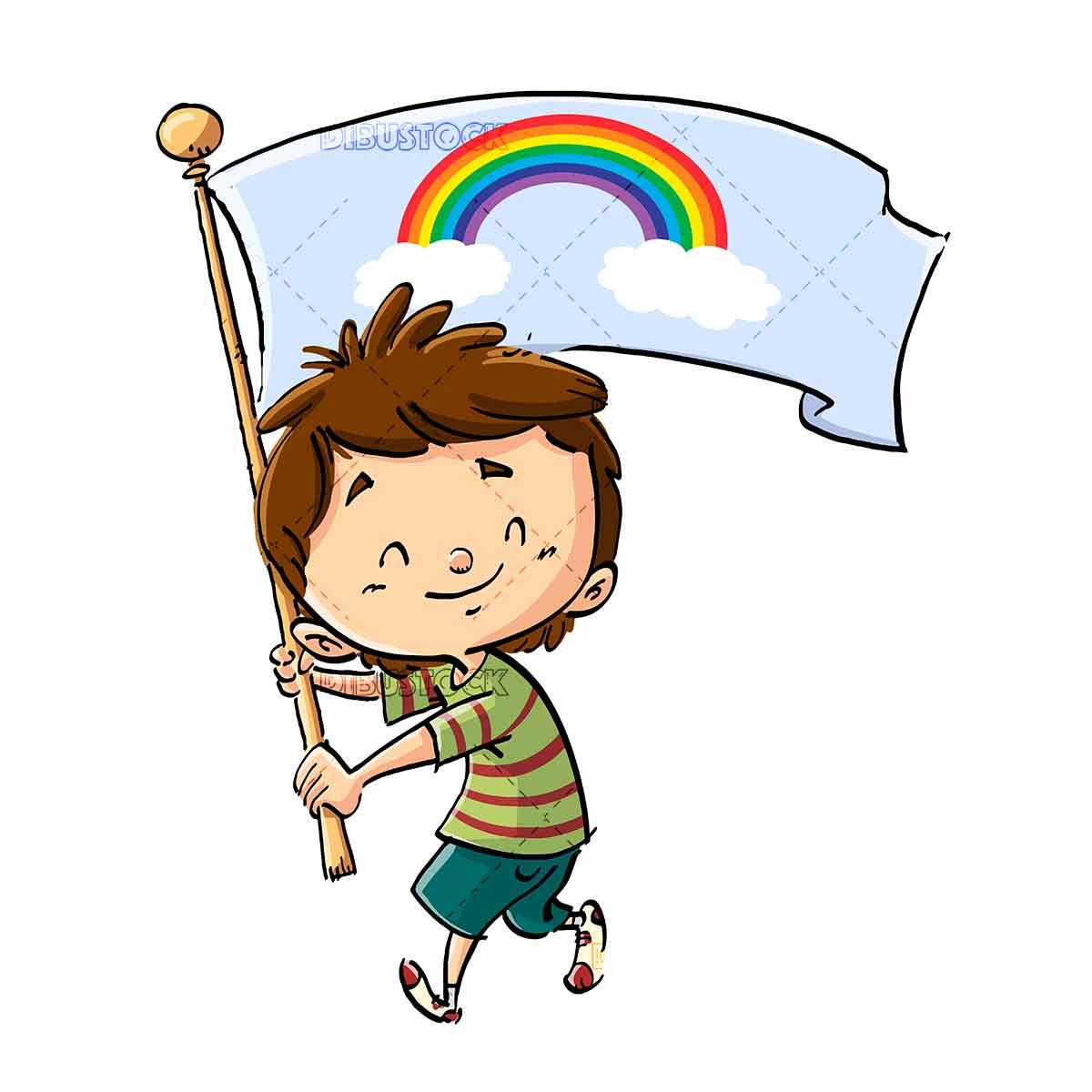 kid with rainbow on flag