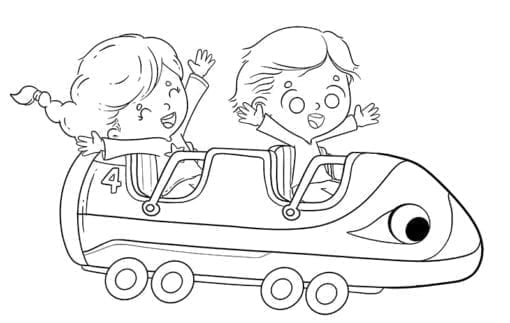kids riding a roller coaster having a good time to color low