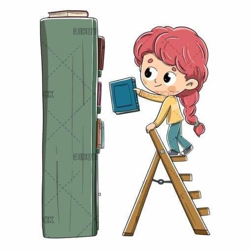 little girl putting a book on the bookshelf
