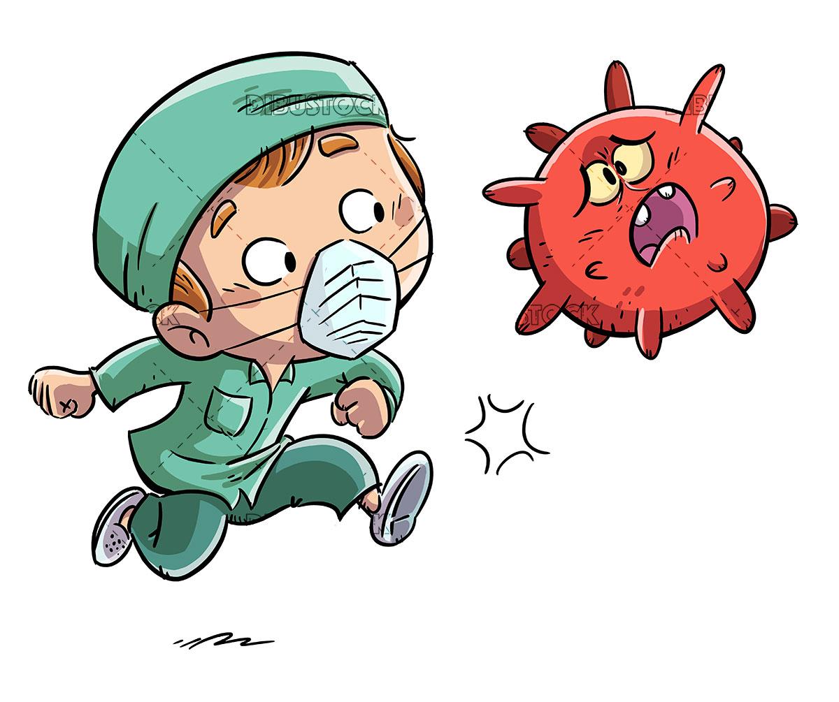 male nurse kicking a virus 1