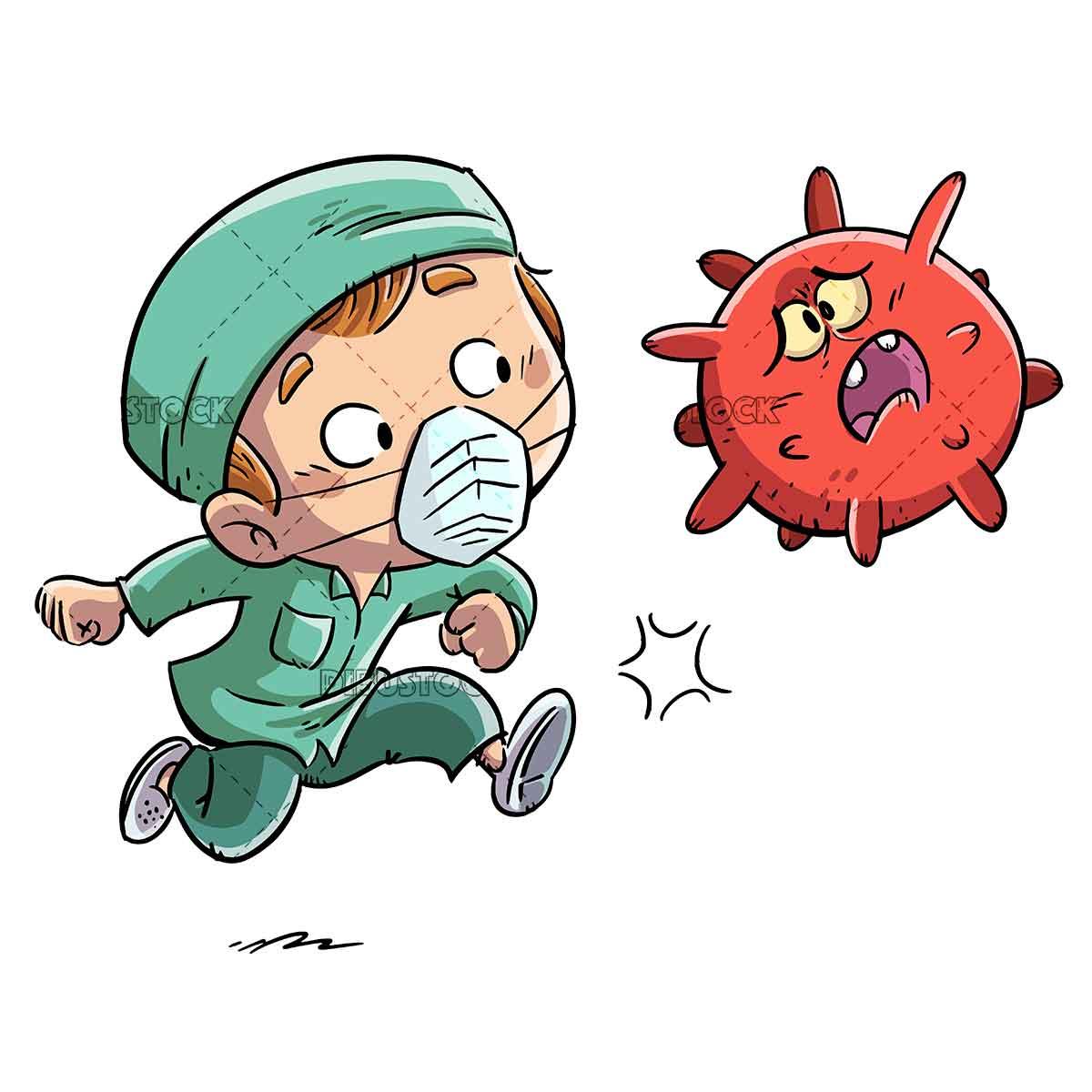 male nurse kicking a virus