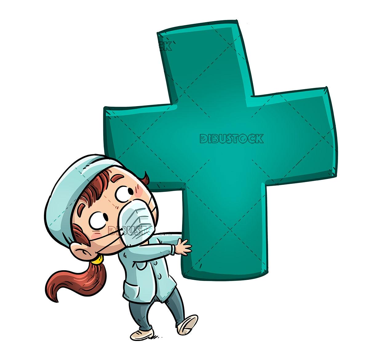 nurse girl with giant green cross 1