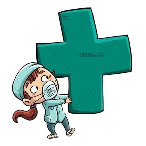 nurse girl with giant green cross