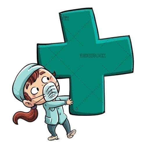 nurse girl with giant green cross