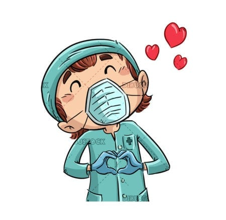 nurse making a heart with her hands 1