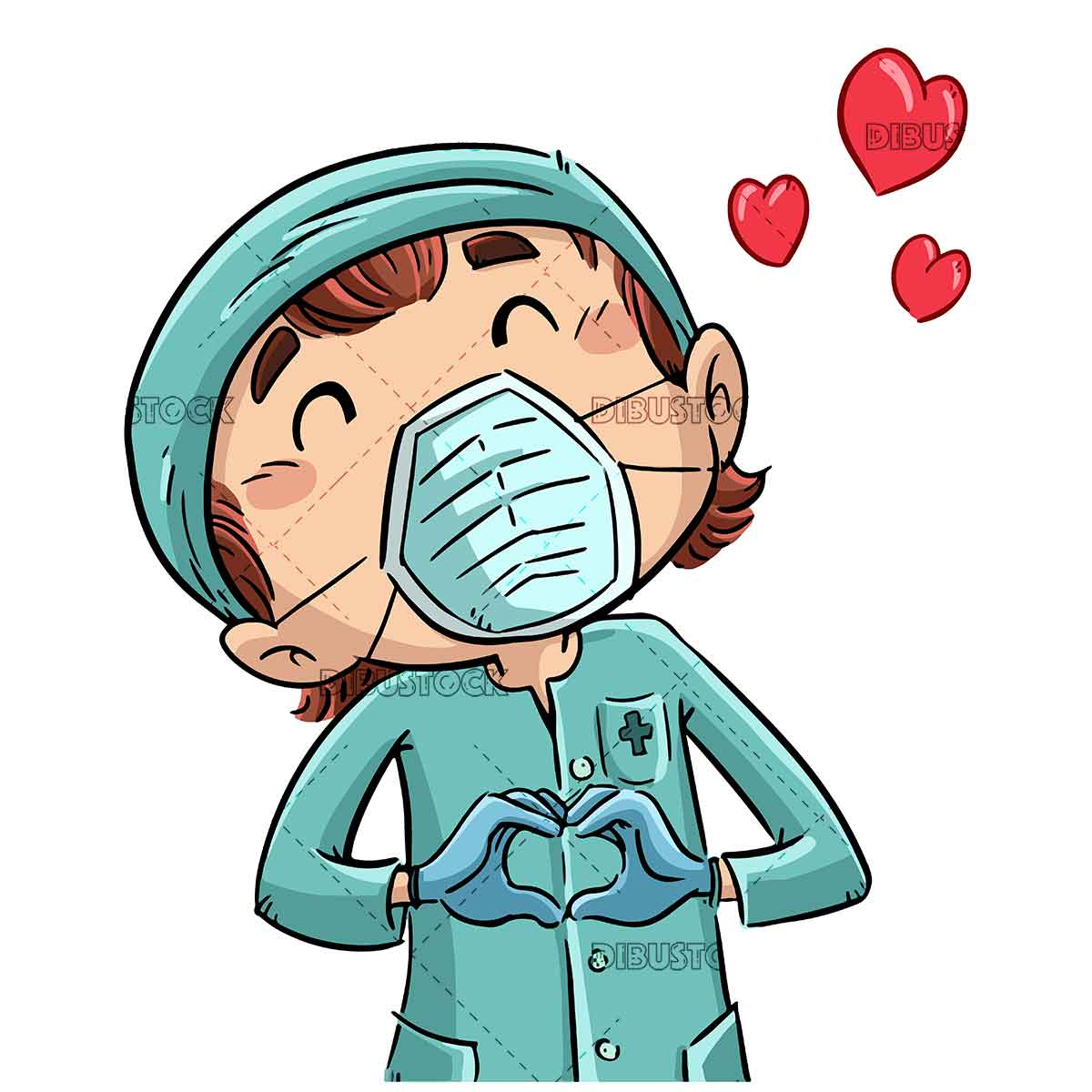 nurse making a heart with her hands