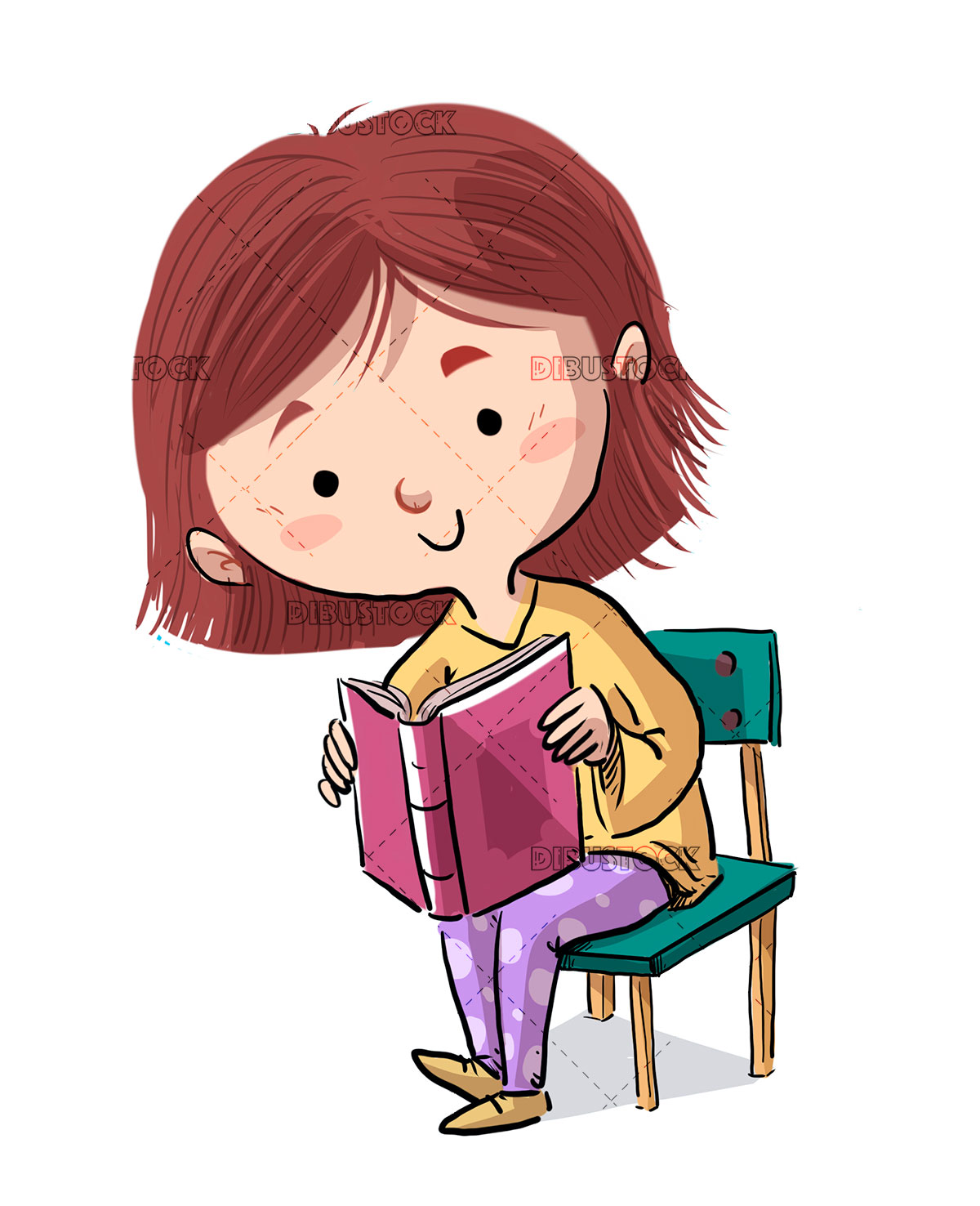 small girl reading a book sitting