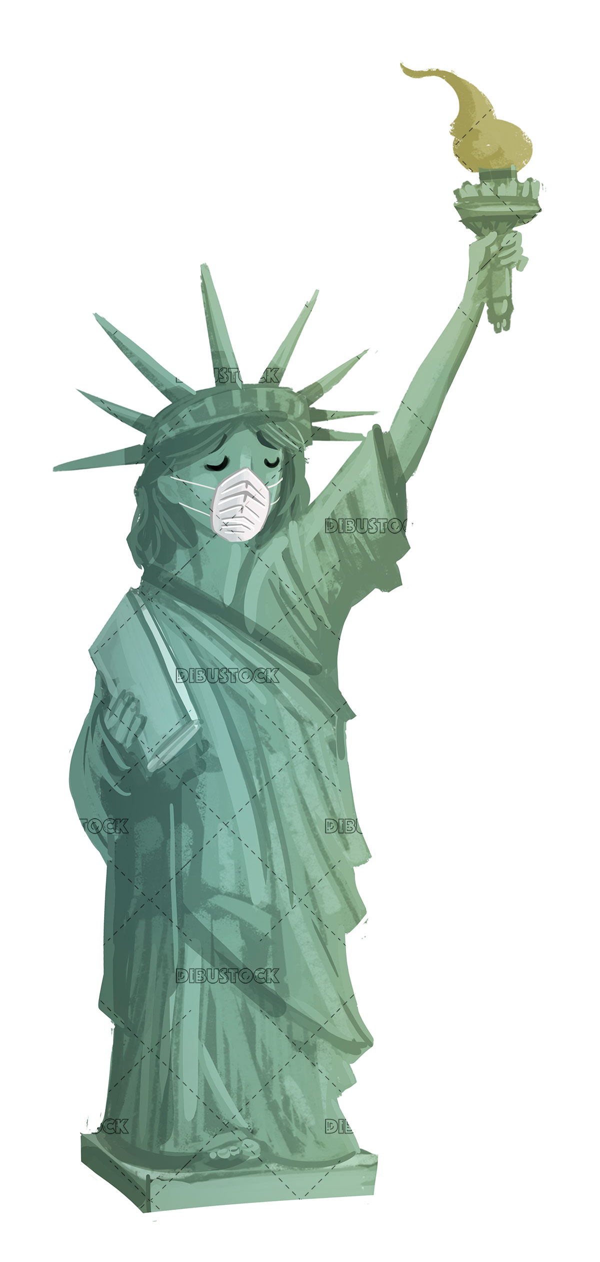 statue of liberty with protection mask