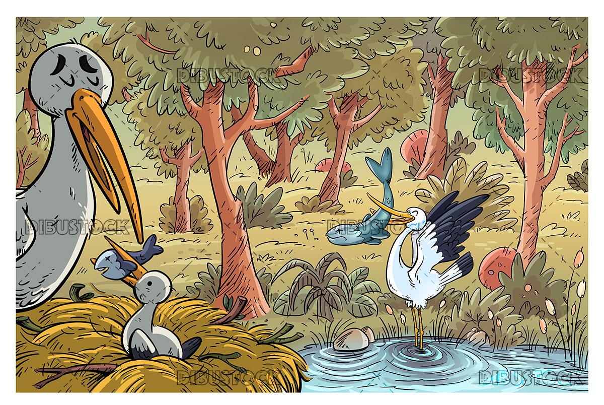 stork family nest in nature