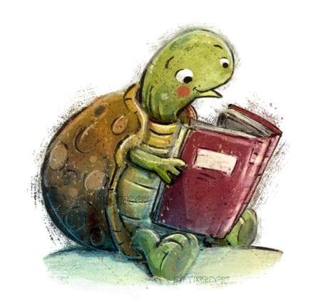 tortuga leyendo un libro