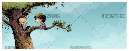 two children climbed a tree in nature 1