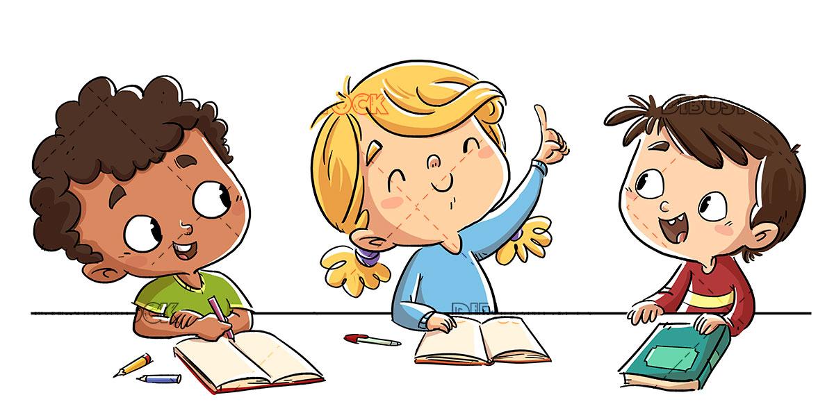3 ninos en el colegio