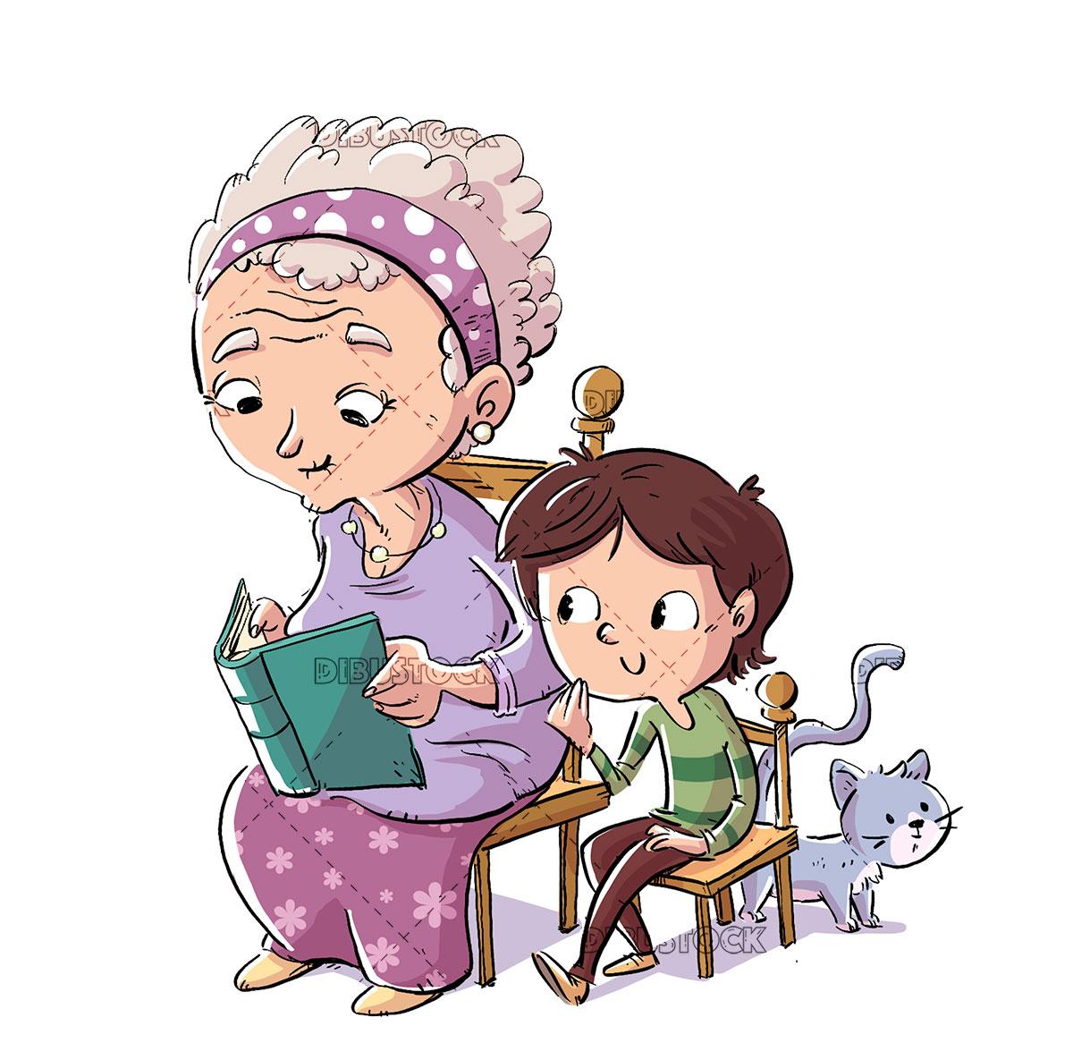 Abuela con nino y gato leyendo un libro20