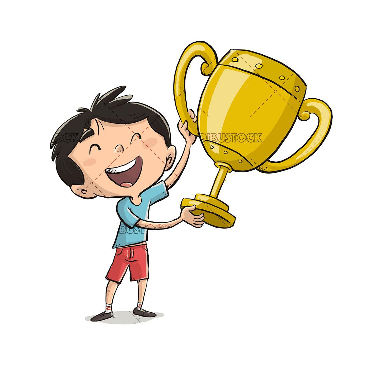 Athlete kid raising a cup
