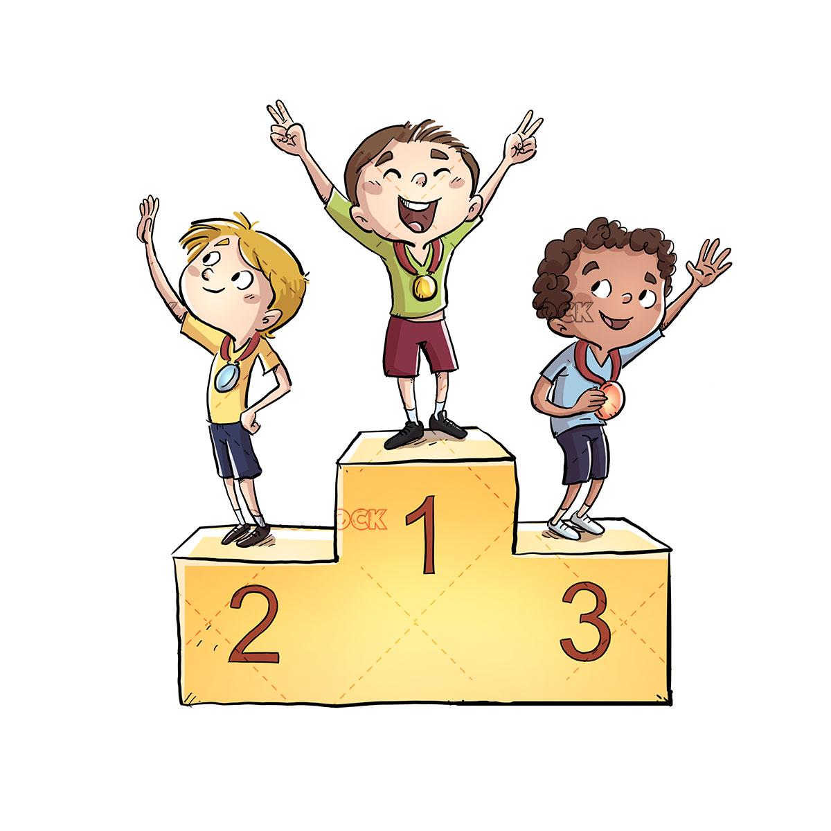 Athletes children on a podium