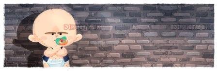 Baby angry at a brick wall