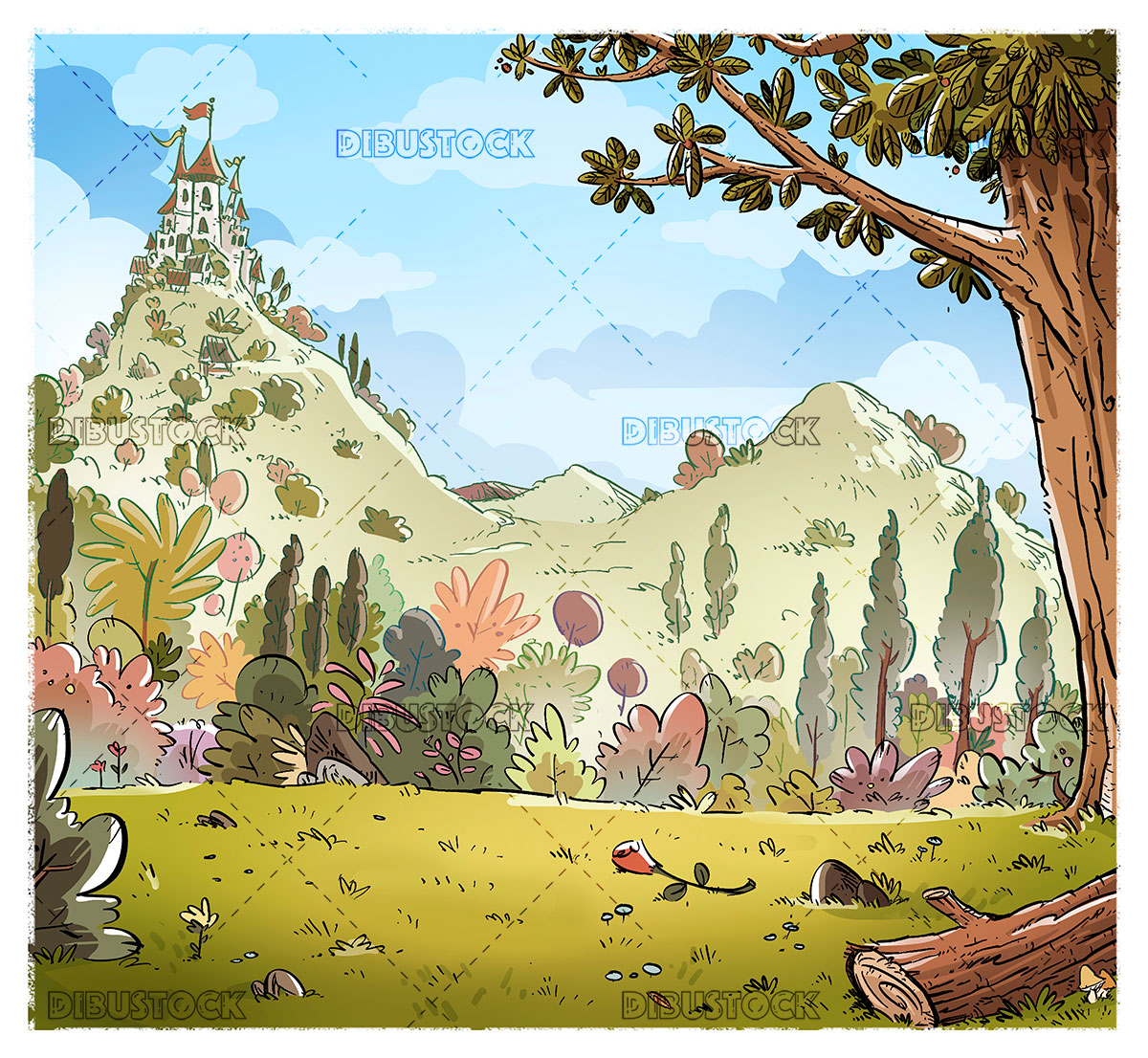 Background with castle in the forest