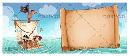 Barco pirata con mapa del tesoro