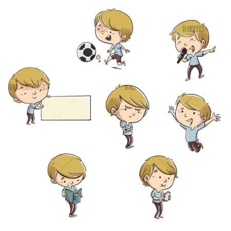 Boy in different poses isolated