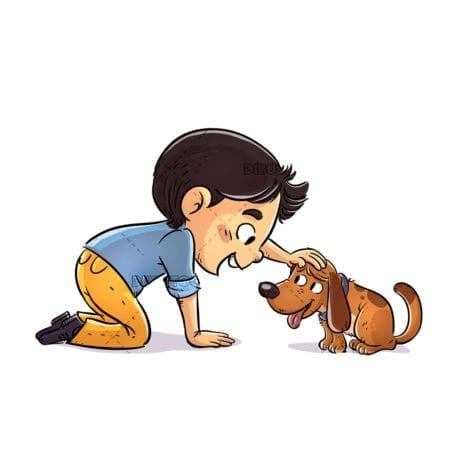 Boy petting his small dog