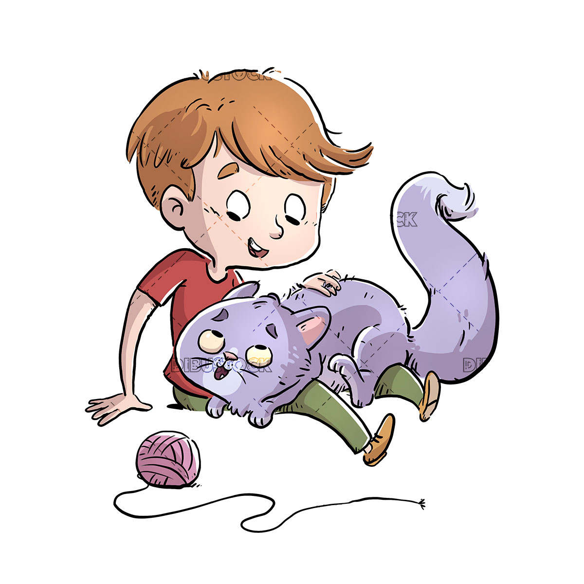 Boy playing with his cat