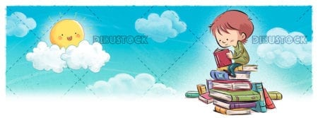 Boy reading books in the sky