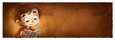 Boy reading with open book