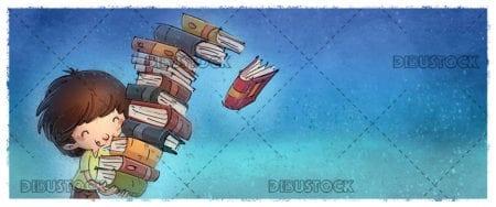Boy with many books