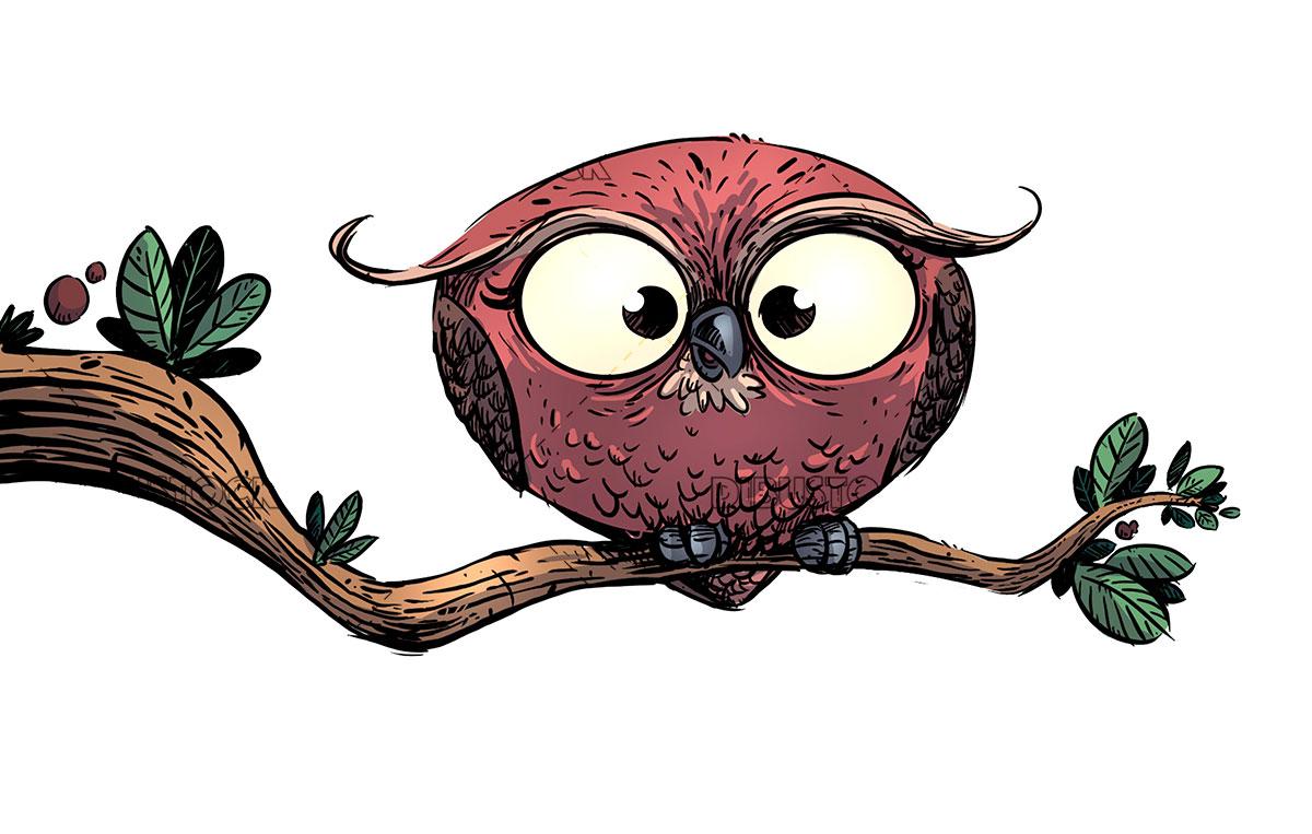 Buho en la rama de un arbol