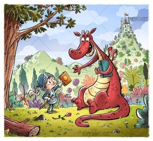 Caballero y dragon con fondo de un castillo
