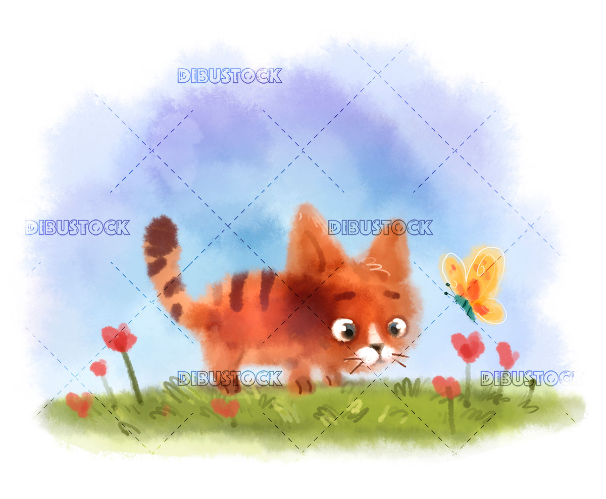 Cat20in20nature20with20butterfly