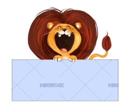 Child lion with open mouth and poster