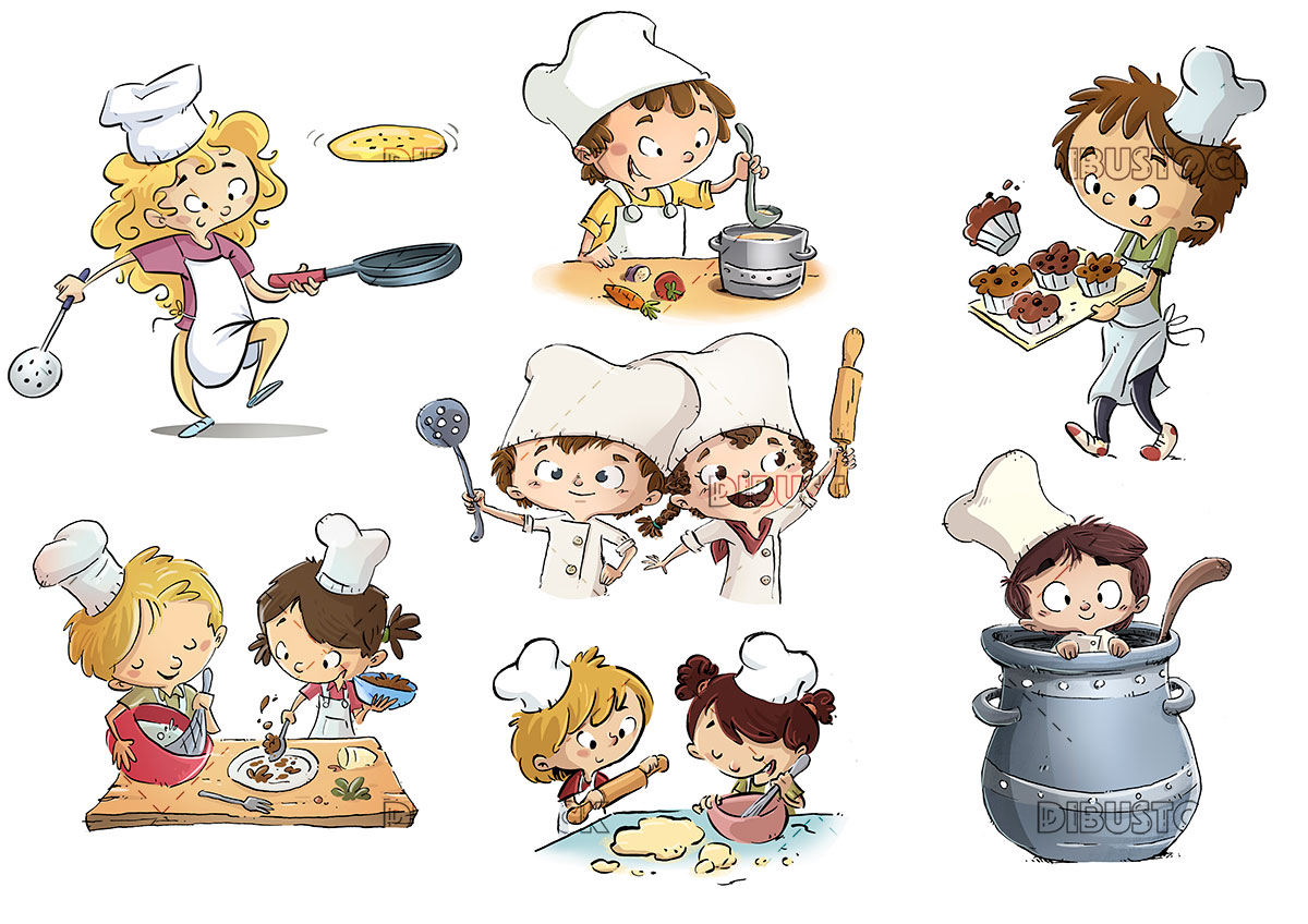 Children cooks in kitchen