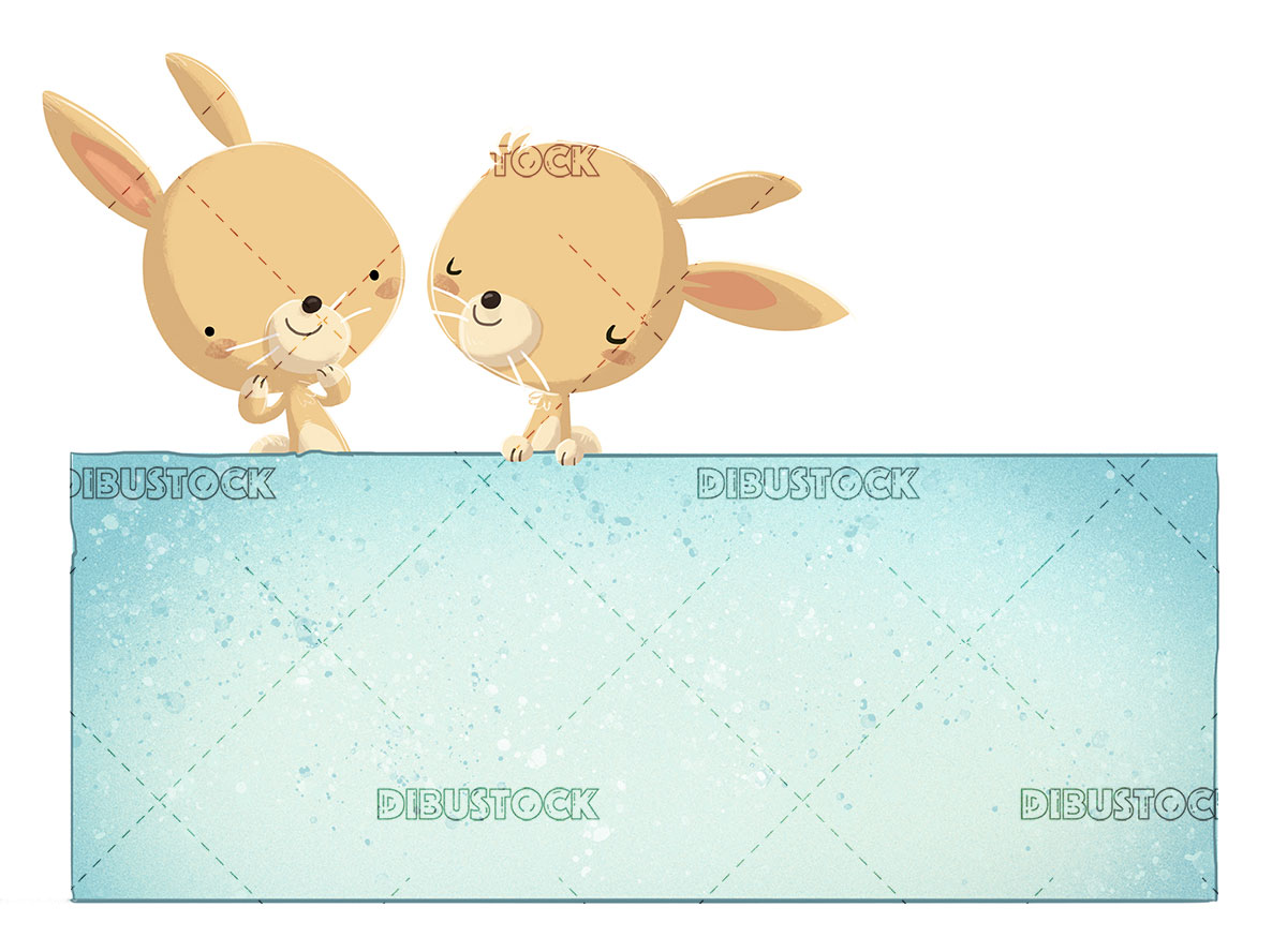 Conejos con cartel