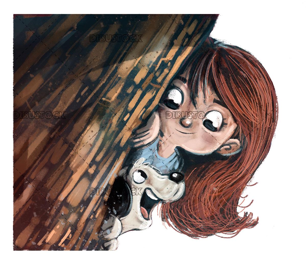 Dog and girl hidden behind a tree