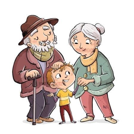 Family of grandparents with their grandson